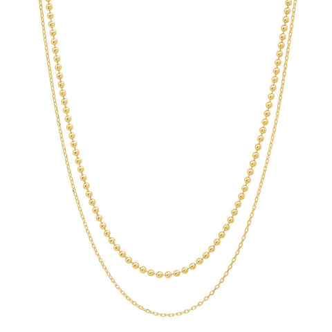 TAI DOUBLE CHAIN LAYERING NECKLACE