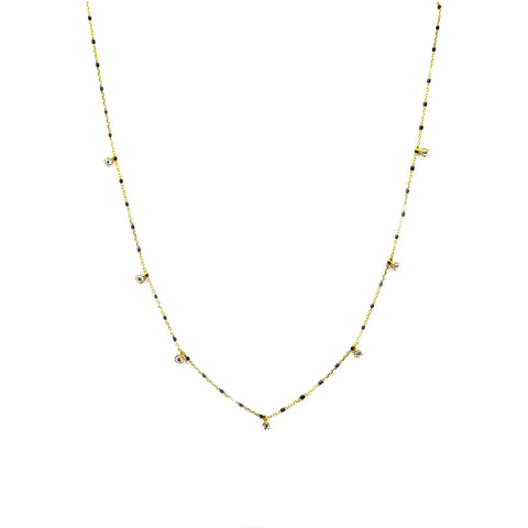 TAI GOLD VERMEIL ENAMEL WITH STATIONED CHARM NECKLACE (BLACK)
