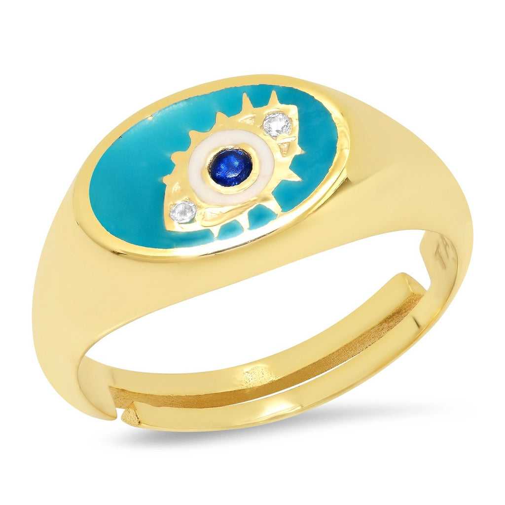 TAI GOLD VERMEIL AND ENAMEL EVIL EYE SIGNET RING