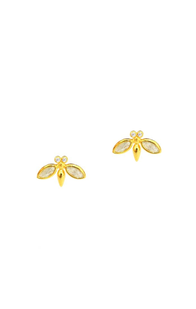 TAI GOLD VERMEIL BEE STUDS WITH STONE ACCENTS