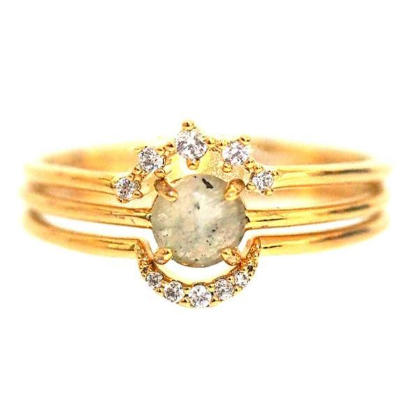 TAI Stackable Ring Set with Opal Circle Stone