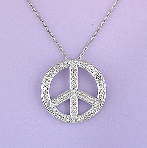 Lau International Diamond Peace Sign Necklace