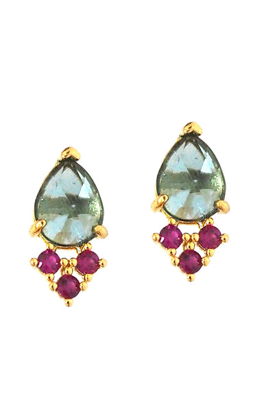 TAI Teardrop Red & Blue Stone Stud