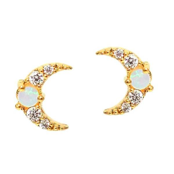 TAI MOON STUD EARRINGS WITH OPAL CENTER