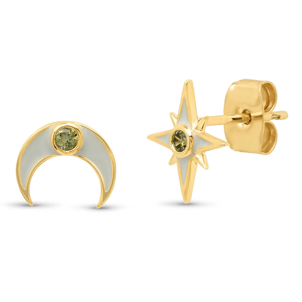 TAI Gold Star/Moon Mismatched Enamel Studs