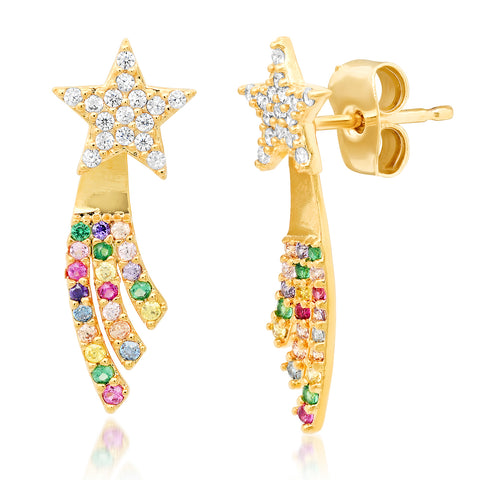 TAI RAINBOW & CZ  SHOOTING STAR EARRINGS