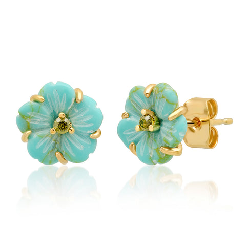 TAI TURQUOISE AND CZ FLOWER STUDS