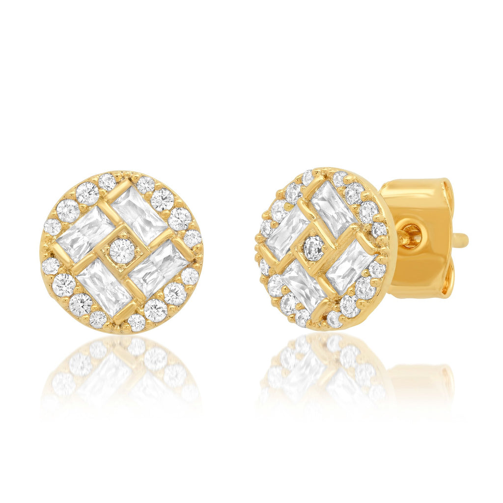 TAI GOLD PAVE CIRCLE STUDS