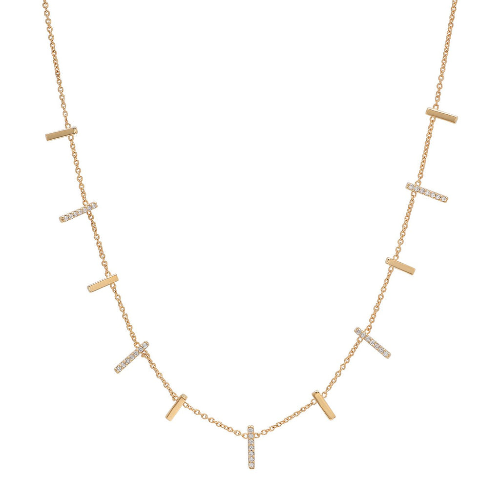 TAI Gold and Pave CZ Stick Necklace
