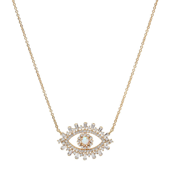 TAI   EVIL EYE NECKLACE WITH OPAL CENTER AND BAGUETTE CZ'S