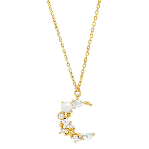 TAI CRESCENT MOON PENDANT NECKLACE WITH CZ, PEARLS AND MINI STARS
