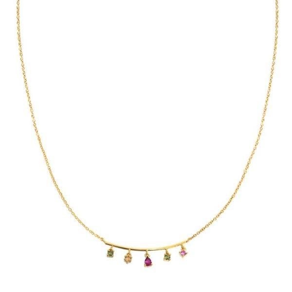 TAI Gold Necklace w/ Bar and Stones