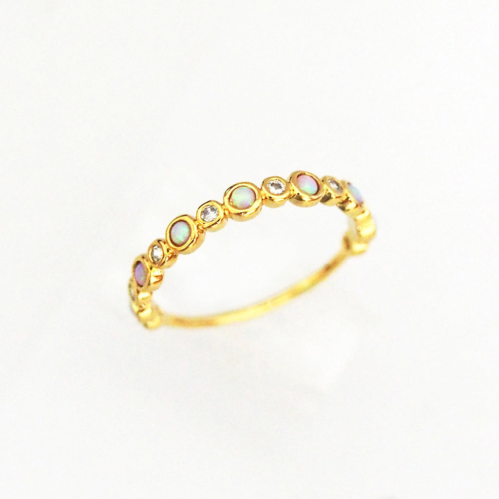 TAI GOLD RING W BEZEL SET CZ AND OPAL STONES