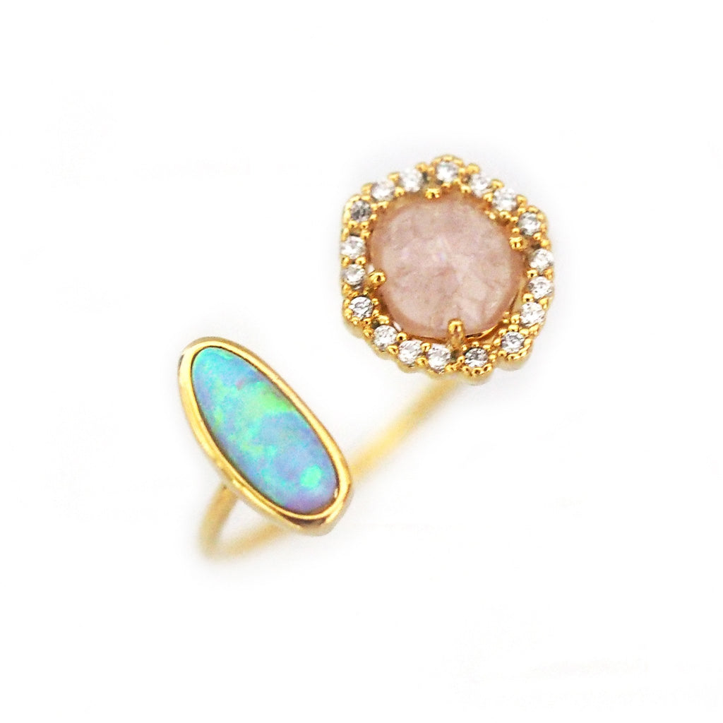 TAI  Adjustable Gold Ring With Opal Stone and Rose Crystal