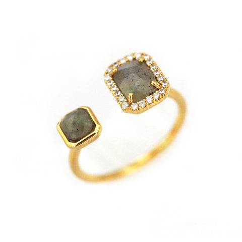 TAI Adjustable Gold Ring with Labradorite Stones and CZ Accents