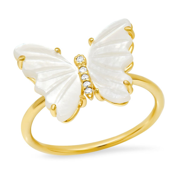 TAI GOLD AND MOTHER OF PEARL BUTTERFLY RING