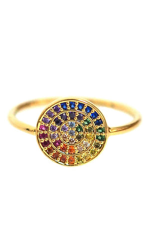 TAI Small Rainbow Disc Ring with Pave CZ Stones