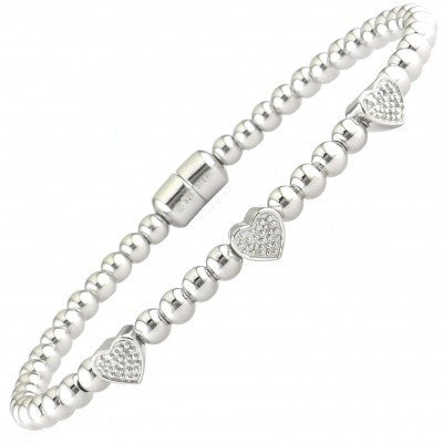 Lau International 3 Heart/Diamond Ball Bracelet