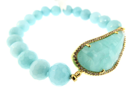 TAI Amazonite Beaded  Crystal Bracelet -Gold