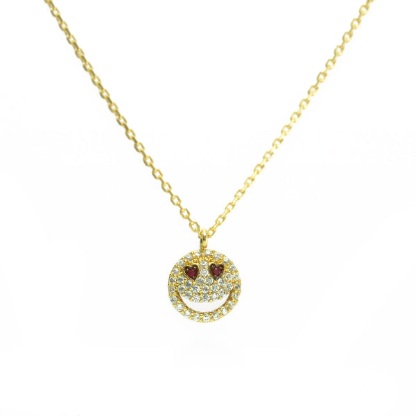 TAI IN LOVE GOLD AND RUBY EMOJI NECKLACE