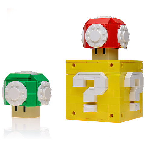 Instructions for Custom LEGO Red+Green Mushroom w/ Question Box