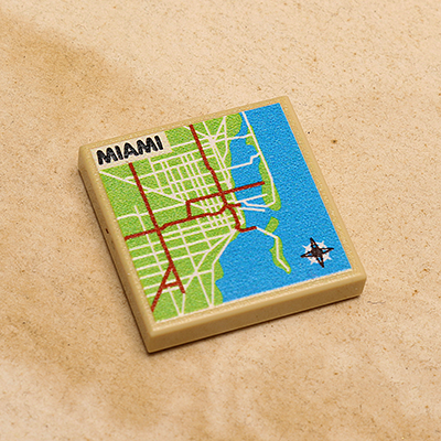 Miami Map Printed Tile