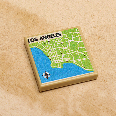 Los Angeles Map Printed Tile