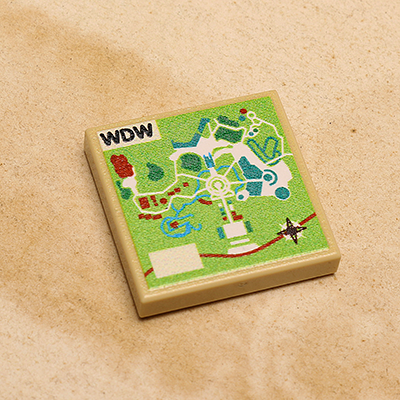 WDW Map Printed Tile