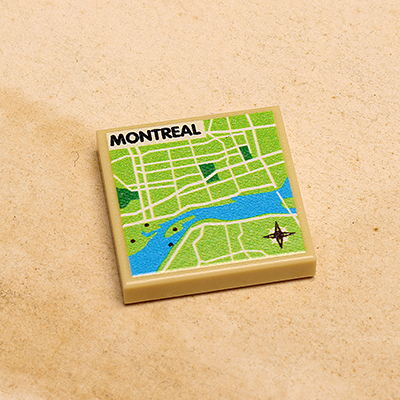 Montreal Map Printed Tile