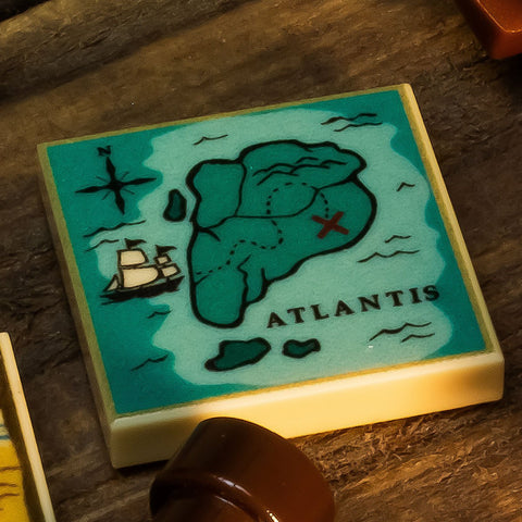 City of Atlantis Treasure Map - Custom LEGO (2x2 Tile)