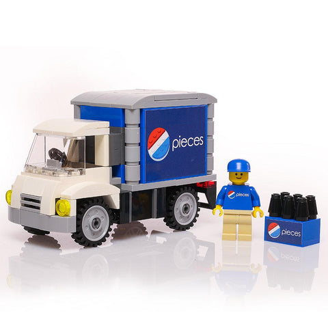 Custom LEGO Pieces Soda Delivery Truck with Minifigure