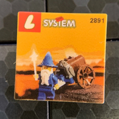 Wizard's Cart, Dragon Masters Set 2891 - Custom Printed LEGO 2x2 Tile