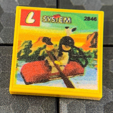 Indian Kayak Western Set 2846 - Custom Printed LEGO 2x2 Tile