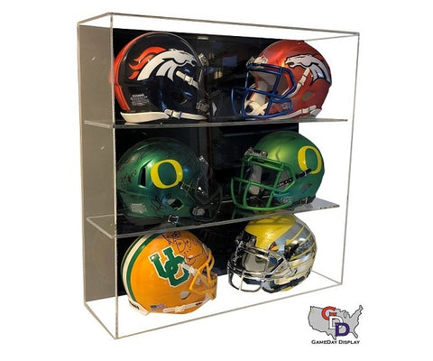 Acrylic Wall Mount 6 Mini Helmet Display Case