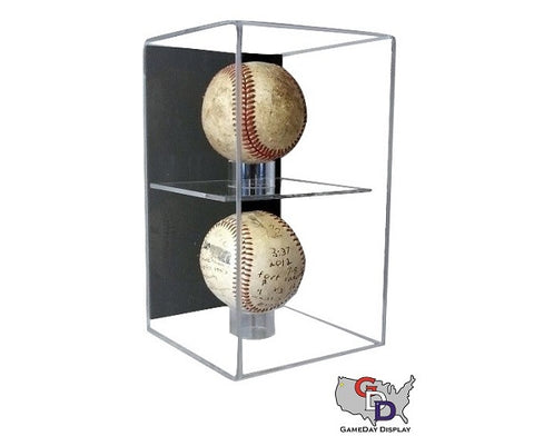 Acrylic Wall Mount Vertical 2 Baseball Display Case