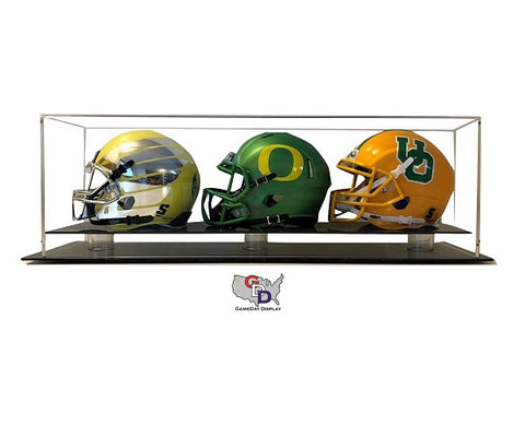 Acrylic Desk Top Triple Mini Helmet Display Case