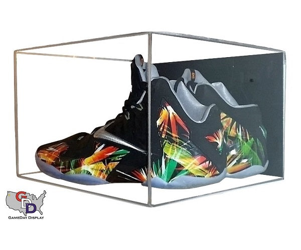 Acrylic Wall Mount Small Shoe Pair Display Case - Size 11.5 and Under
