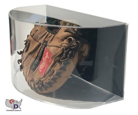 Image of Curved Acrylic Wall Mount Baseball Glove Display Case