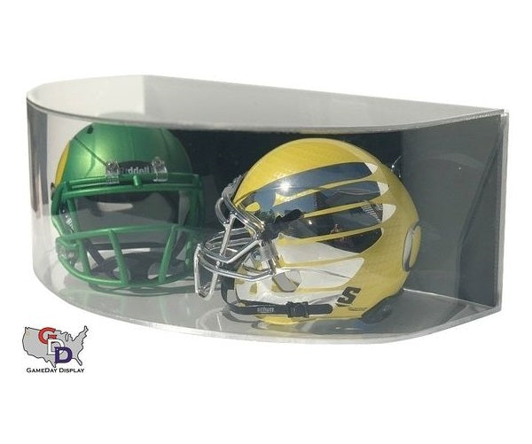 Curved Acrylic Wall Mount Double Mini Helmet Display Case