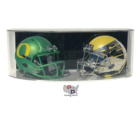 Image of Curved Acrylic Wall Mount Double Mini Helmet Display Case