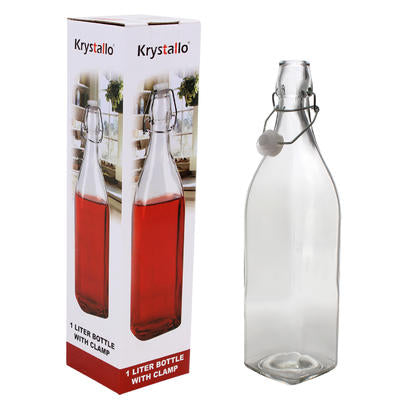 Krystallo Glass Bottle with Clamp (1 Liter)