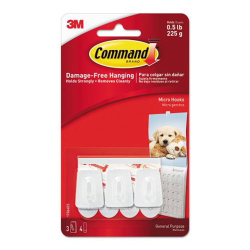 Command General Purpose Hooks, Plastic, White, 3 Hooks