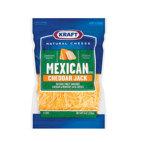 Kraft Natural Cheese Finely Shredded Mexican Cheddar Jack Cheese, 8 oz