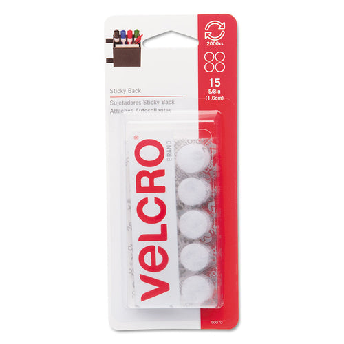 Velcro Sticky-Back Hook and Loop Dot Fasteners on Strips, 5/8 dia., White, 15 Sets/Pack