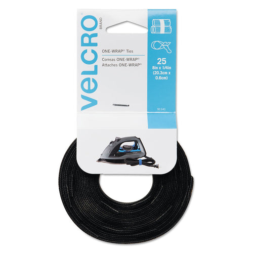 Velcro Reusable Self-Gripping Cable Ties 1/2 x 8 inches Black 25 Ties/Pack