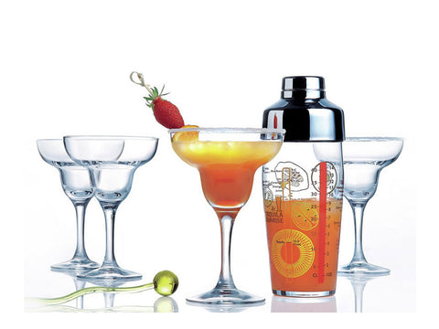 VASOS SAMBA COCKTAIL + SHAKER SET X5