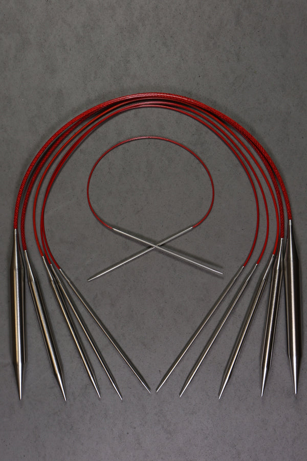 "Chiaogoo 32"" RED Lace Stainless Steel Circular Needles"