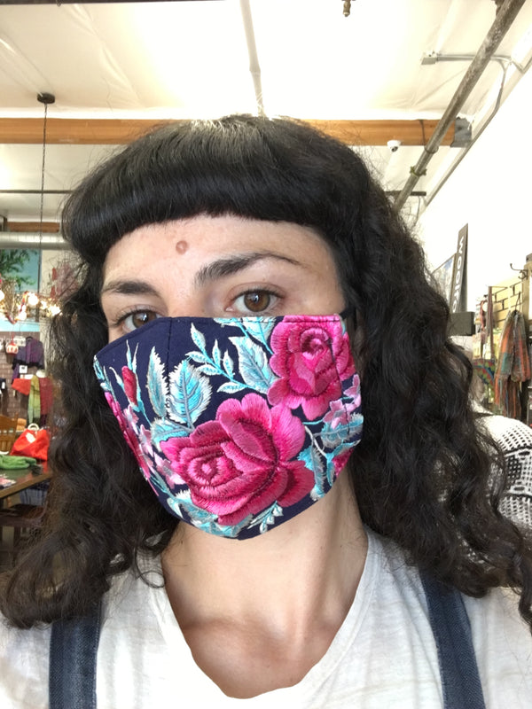 Embroidered Face Mask with Filter Pocket - Fair Trade!
