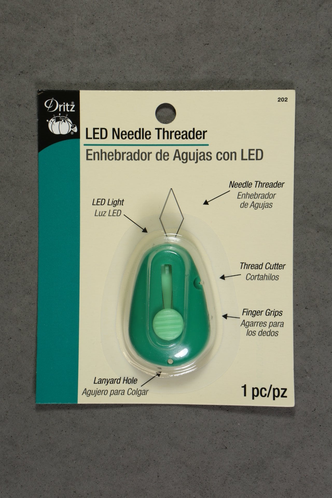 Dritz 202 Led Lighted Needle Threader With Cutter Green