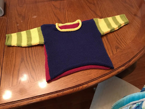 Child's Block and Stripe Sweater on the LK-150 Knitting Machine